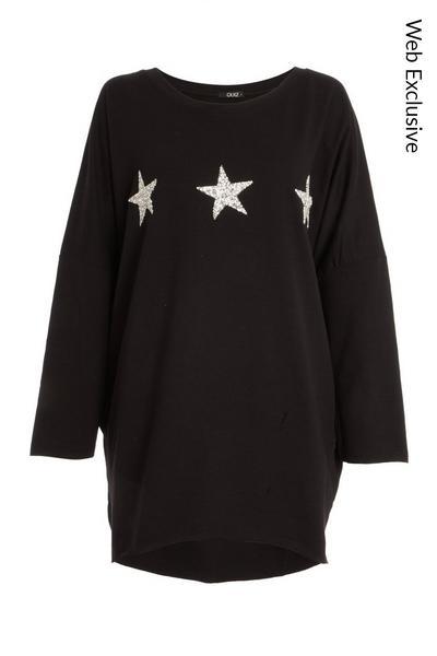 Black Glitter Star Top